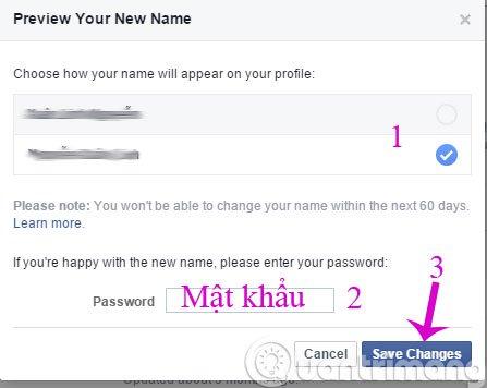 Nhập mật khẩu để xác nhận đổi tên Facebook